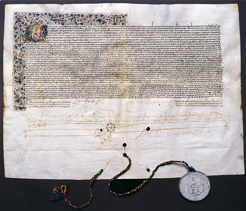 Documento de venta de la Dehesa de las Gordillas a H. Nuñez de Arnalte, firmado por los Reyes Católicos